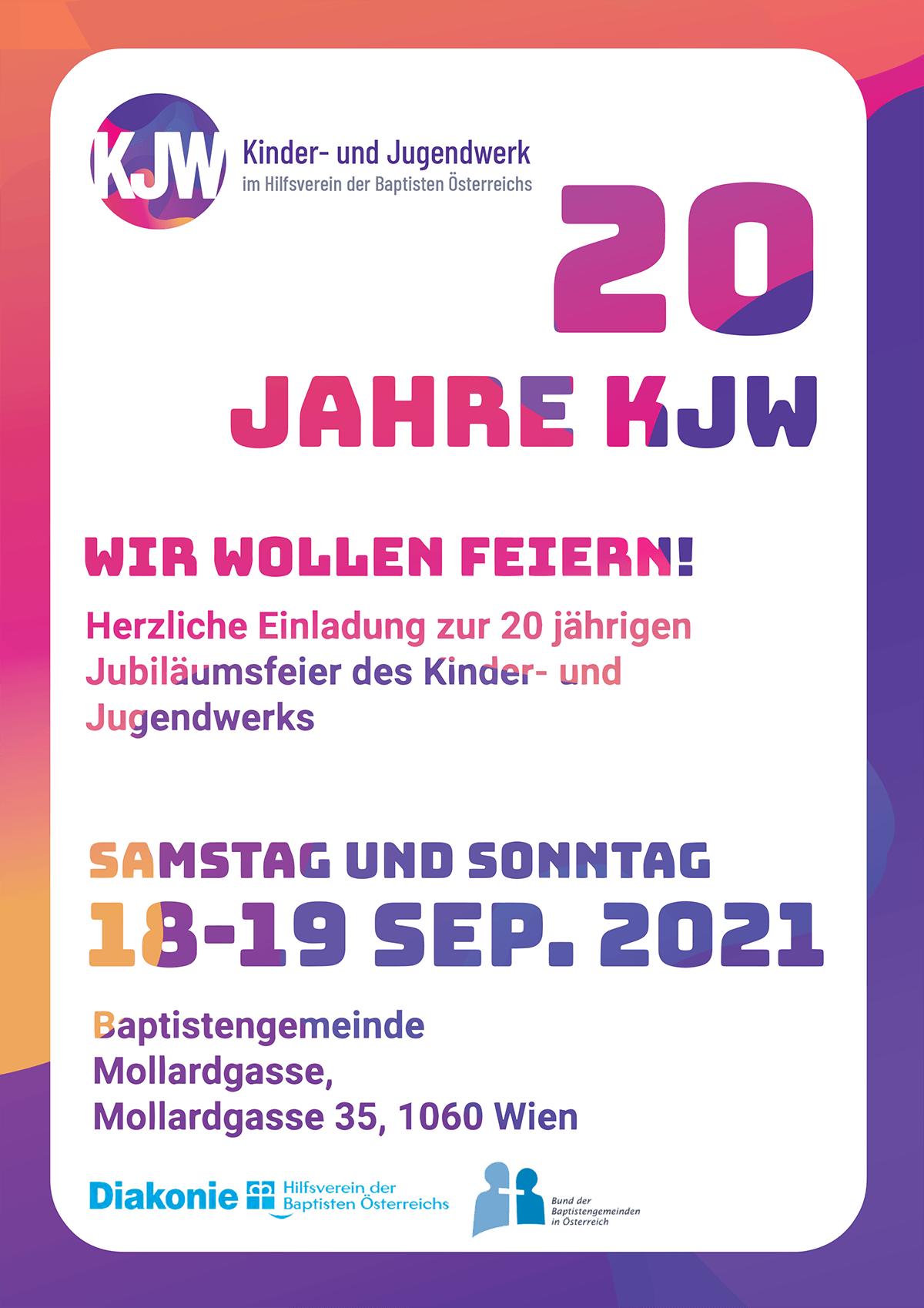 Flyer für die 20 Jahre Jubiläumsfeier des Kinder- und Jugendwerks